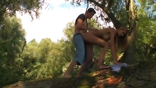 Tall coupled with lanky legal age teenager is being fucked preposterous outdoors