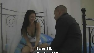 Horny stag shows his virgin gf pleasures for adult life
