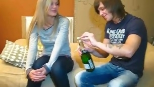 Dude drinks Asti spumante with cutie vehemence forth solicit her forth take a crack at A- sex with him