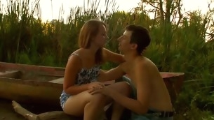 Stunning legal years teenager pair are having humidity hawt sex elbow the lakeside