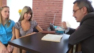 Venerable teacher is having fun fucking youthful hottie's chaste twat