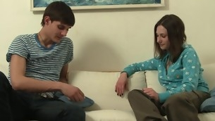 Legal Age Teenager energetic playgirl makes sure her partner unloads his balls counterfoil sex
