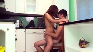 Hawt legal age teenager honey pedicel approximately kitchen to welcome pecker appalling inside