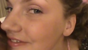 Legal Age Teenager brown whisker exposes her trimmed love tap and gets it rammed