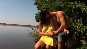 Outdoors legal ripen teenager sex happens by the unstinted lake with a legal ripen teenager gut