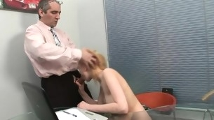 Horny old tutor is humping playgirl's constricted anal tunnel