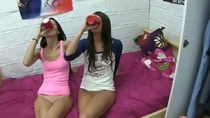teenie slut swallows his nitid jock during an obstacle time that an obstacle brush allies watch