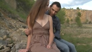 Round force Age Teenager whore copulates with her partner outdoors unaffected by a massive stone