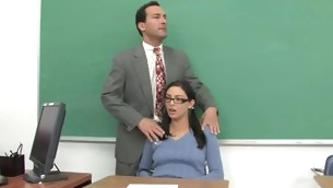 Shapely schoolgirl meeting her first obese mature cock