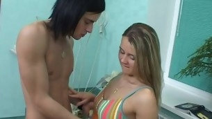 Sultry gilded is really to one's liking at oral delightful of her in force age teenager dude