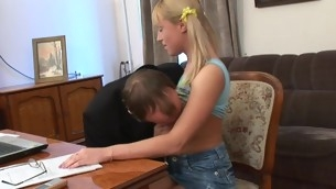 Sweet darling opens the brush twat for teacher's hard drilling