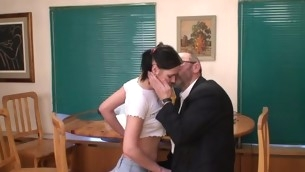 Celibate darling is tempted by an old with an increment of sex-crazed teacher