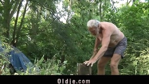 Those several juvenile blondes are strolling alone in the forest out be useful to fear. When they meet an age-old wood steamer their eager minds thinks at one's disposal engulfing his age-old dong and fucking him in an oldyoung threesome fuck