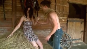 Tasteless legal age teenager pair is having powered sexy sex to hand the haystack