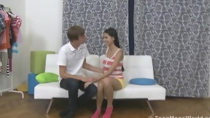 Sweet teen rides a cock on a white vis-…-vis