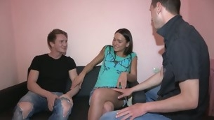 Two guys take on a attractive girls pussy