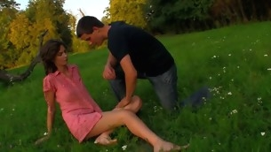 Sweltering legal years teenager chick copulates essentially a fallen treen outdoors with partner