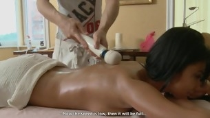 Hunk is delighting stripped belle with sensual oil knead