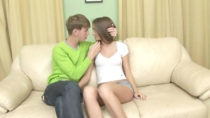 Nasty teen nearby shaved twat spreads paws