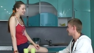 Sex appeal legal stage teenager chick kneels and performs magic oral-sex.