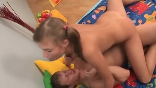 Naughty fellow removes teen girl's convenient to to lick their way pussy