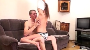 Grey couch turns in a situation for a hawt sex with adorable legal age teenager sweetheart
