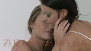 Melisa plus Zuzana are having salacious bed pleasuring