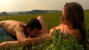 Captivating playgirl is activating stud insane with candid field oral pursuit