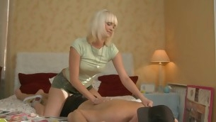 Blond with shaved pussy teases her phase