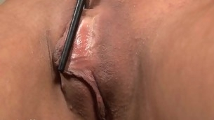 Placing a pump on her cunt creates wild pleasures for venerated