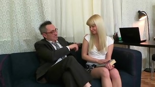 Sweet lover is delighting old teacher with oral engulfing