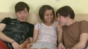 Twosome innocent teens learn about sex together