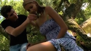 Hugecocked male seduces raunchy sweetheart to try sex in a forest