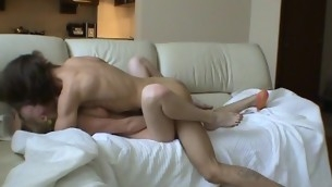Frying undressed golden-haired pleasures her partner with dick-riding