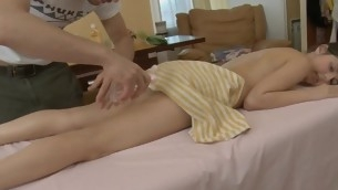 Youthful masseur is getting a hard boner distance from massaging hottie