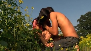 Sloppy and curvy brunette hair makes out with her stud in well-chosen field